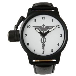 Caduceus Black Numbers Wristwatches