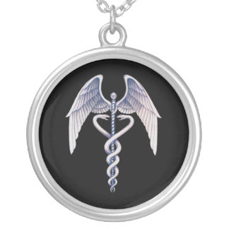 Caduceus Black & Silver Medical Winged Necklace
