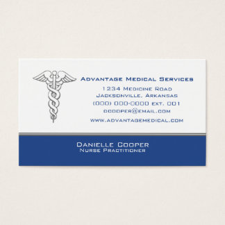 Caduceus Business Card, Blue Business Card