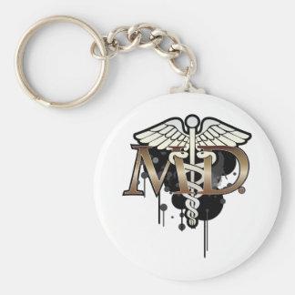 Caduceus grunge with M.D. Key Ring
