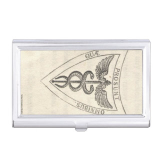 Caduceus in Shield Business Card Holder