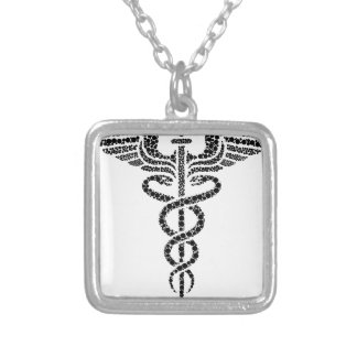 Caduceus -Medical symbol- made of circle cells Silver Plated Necklace