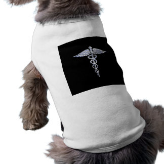Caduceus Medical Symbol on Black Sleeveless Dog Shirt