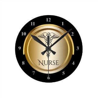 Caduceus Medical Symbol   Registered Nurses LPN RN Wall Clocks