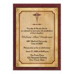Caduceus, Parchment, Medical Graduate Annoucement Custom Invites