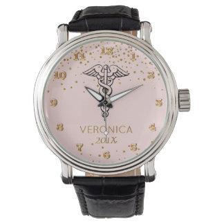 Caduceus Symbol Blush Gold | Nurses Nursing RN Watches