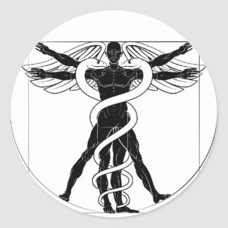 Caduceus Vitruvian Man Classic Round Sticker