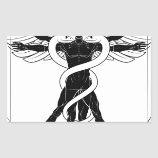 Caduceus Vitruvian Man Rectangular Sticker