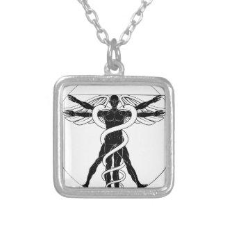 Caduceus Vitruvian Man Silver Plated Necklace