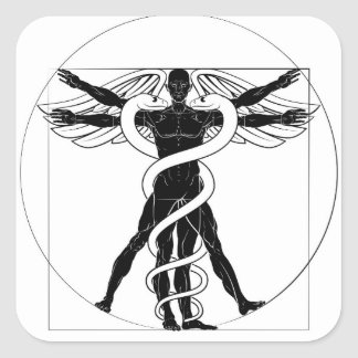 Caduceus Vitruvian Man Square Sticker