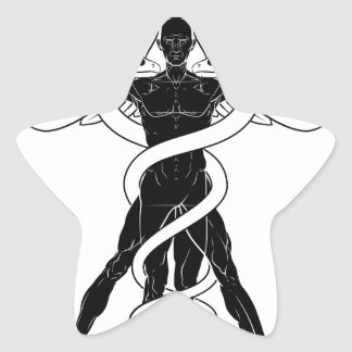 Caduceus Vitruvian Man Star Sticker