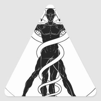 Caduceus Vitruvian Man Triangle Sticker
