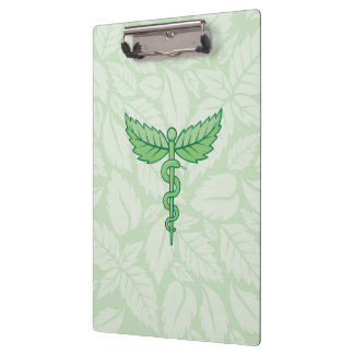 Caduceus with leaves background clipboard