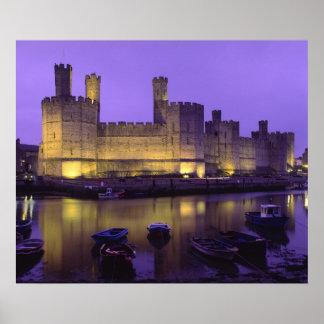 Caernarfon Castle, at Night, Gwynedd, Wales Poster