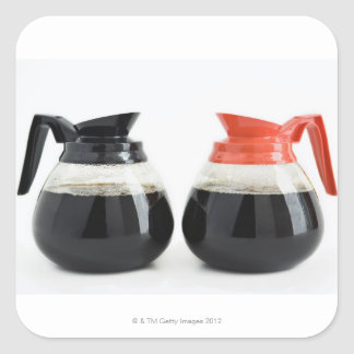Caf. and Decaf. Coffee Pots on White. Square Sticker