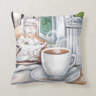 Cafe au Lait and Beignets Pillow