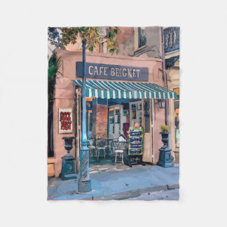 Cafe Beignet Coffee Shop French Quarter Fleece Blanket