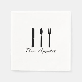 Cafe Bon Appetit Paper Napkin Black on White