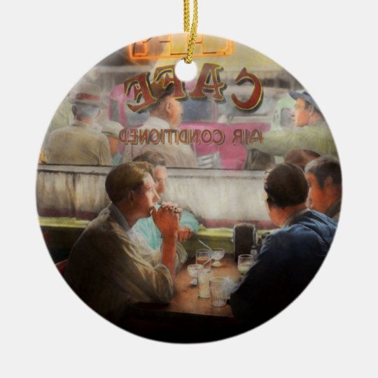 Cafe - Cold drinks with friends 1941 Ceramic Ornament