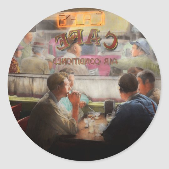 Cafe - Cold drinks with friends 1941 Classic Round Sticker