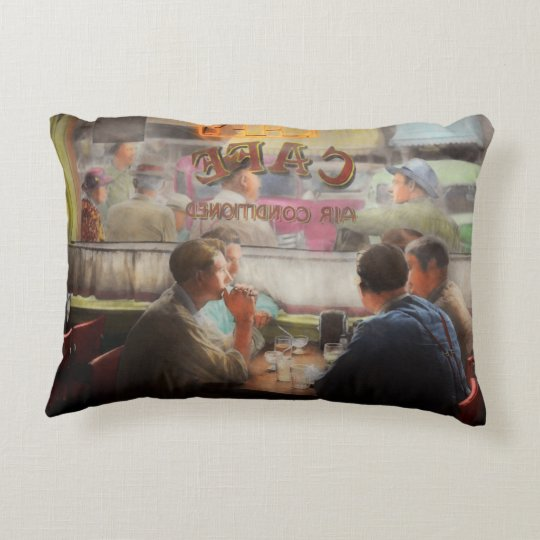 Cafe - Cold drinks with friends 1941 Decorative Cushion