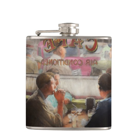 Cafe - Cold drinks with friends 1941 Hip Flask