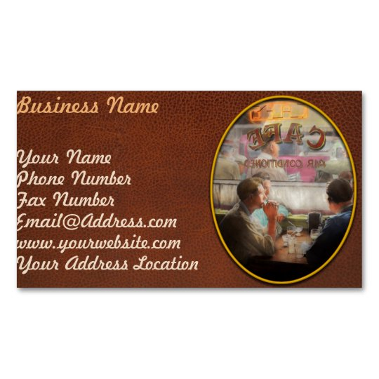 Cafe - Cold drinks with friends 1941 Magnetic Business Card