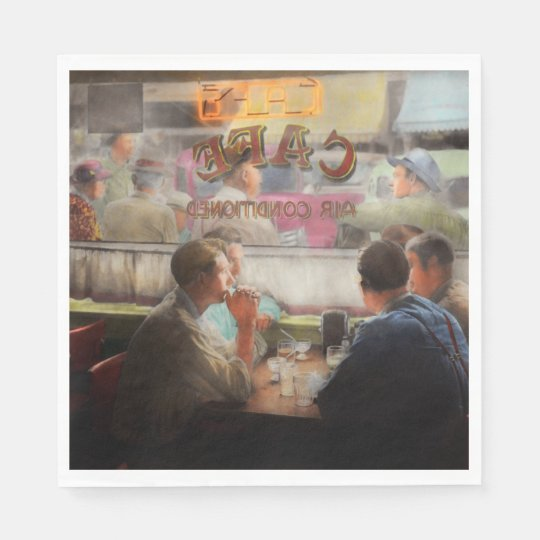 Cafe - Cold drinks with friends 1941 Paper Serviettes