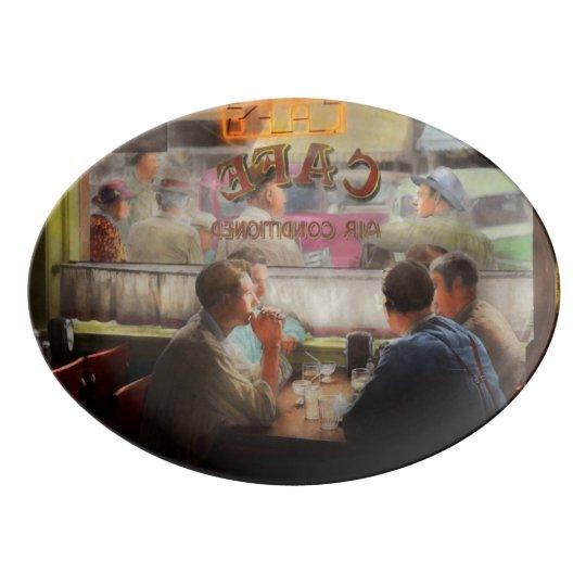 Cafe - Cold drinks with friends 1941 Porcelain Serving Platter