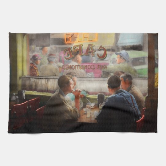 Cafe - Cold drinks with friends 1941 Tea Towel