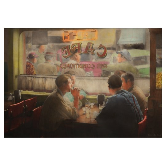 Cafe - Cold drinks with friends 1941 Wood Poster