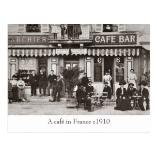 Café in France sepia postcard