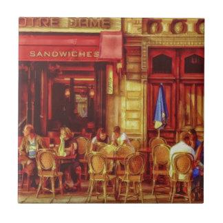Cafe in Paris France by Shawna Mac Ceramic Tile