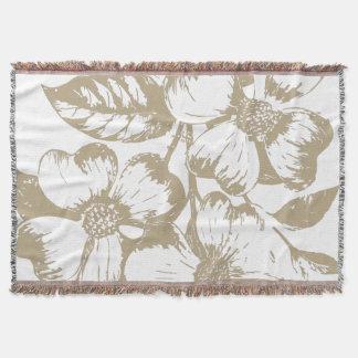 Cafe Latte Dogwood Floral Throw Blanket