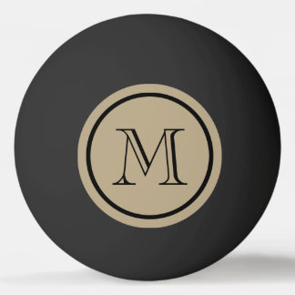 Cafe Latte Solid Color Black Custom Monogram Ping Pong Ball