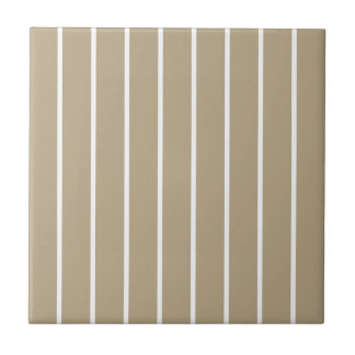 Cafe Latte White Pinstripe Small Square Tile