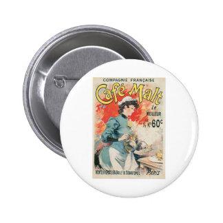 Cafe Malt Vintage Coffee Drink Ad Art Pinback Button