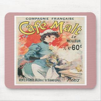 Cafe Malt Vintage Coffee Drink Ad Art Mousepads