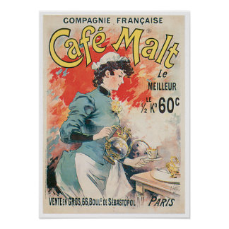 Cafe Malt Vintage Coffee Drink Ad Art Posters