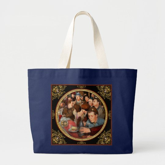 Cafe - Midnight Munchies 1943 Large Tote Bag