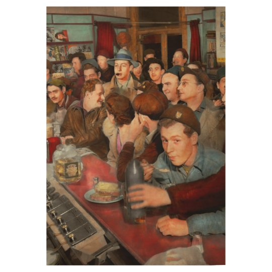 Cafe - Midnight Munchies 1943 Wood Poster