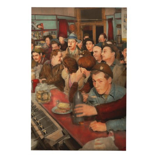 Cafe - Midnight Munchies 1943 Wood Wall Art