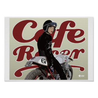 Cafe Racer Girl on Moto Guzzi motorbike Poster
