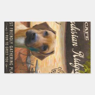 Cafe Rhodesian Ridgeback Rectangular Sticker