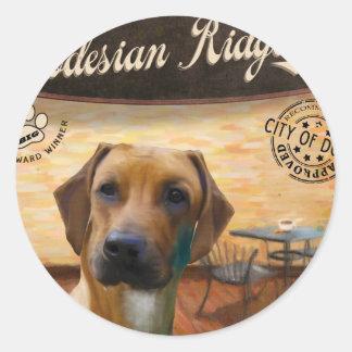 Cafe Rhodesian Ridgeback Round Sticker