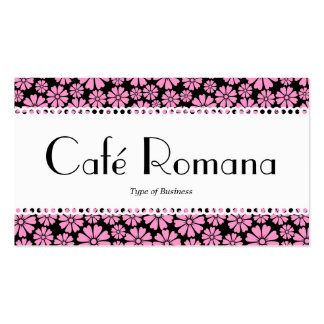 Café Romana (Scalloped) Floral Pattern Business Card Templates