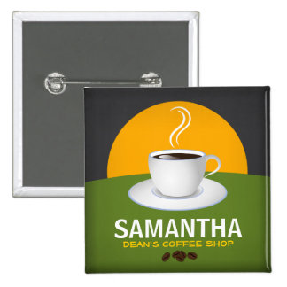 Cafe Staff ID Name Tags Coffee Shop Coffee Cup 15 Cm Square Badge