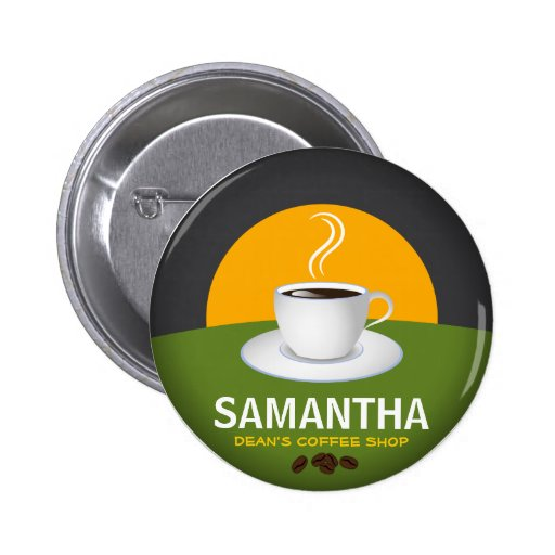 Cafe Staff ID Name Tags Coffee Shop Coffee Cup Buttons