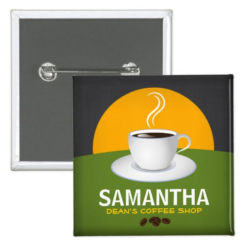 Cafe Staff ID Name Tags Coffee Shop Coffee Cup Pin