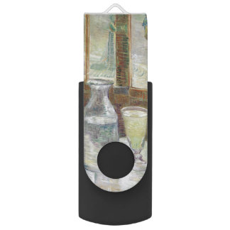 Cafe Table with Absinthe by Vincent Van Gogh Swivel USB 2.0 Flash Drive
